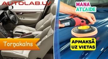 """Salona dziļā ķīmiskā tīrīšana par 64€ vai salona ķīmiskā tīrīšana + virsbūves pulēšana par 199€ no """"Autolab.lv""""!"""