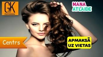 """Matu griezums ar karstajām šķērēm + ieveidošana + lokas no 15.40€! Salons """"GK Hair""""."""