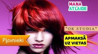 """Matu krāsošana vienā tonī + ieveidošana par 16.90€ salonā """"OK Studia""""!"""