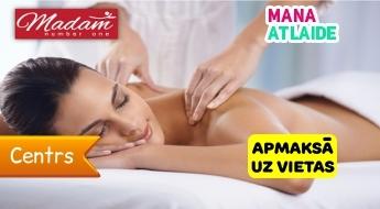 """Pilna ķermeņa relaksējošā masāža tikai 14.90€ salonā """"Madam One""""!"""
