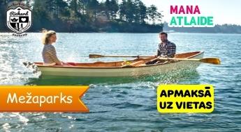 """Izbrauciens ar 4 vietīgu airu laivu pa Ķīšezeru par 3.50€ no """"Richard windsurfing club""""!"""