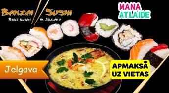 """Zupas 1+1 vai suši komplekti no 6€ no """"Banzai Sushi""""!"""