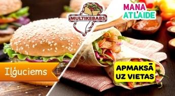 """Maizes vai lavaša kebabs, burgera vai picas komplekts no 3.40€ no """"Multikebabs""""!"""