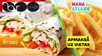 """Wrap ar vistas gaļu vai falafel + kartupeļi frī + dzēriens par 2.15€ kafejnīcā """"BR Cafe""""!"""
