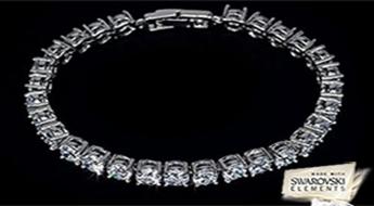 """Apbrīnojama rokassprādze """"Junona"""" ar 18 karātu baltā zelta pārklājumu un inkrustāciju no caurspīdīgiem Swarovski Elements™  kristāliem ar atlaidi 50%!"""