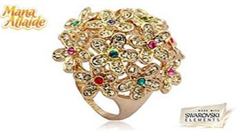 """Dabas krāsu sacelšanās! Grezns gredzens """"Afrodīte"""" pārklāts ar Swarovski Elements™ kristāliem zieda veidā!"""