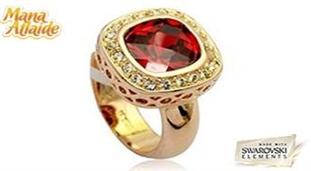 """Tikai tiem, kas zin skaisto lietu vērtību! Košs un stilīgs gredzens """"Rubīns"""" ar orģinālu dizainu un Swarovski Elements™ kristāliem!"""