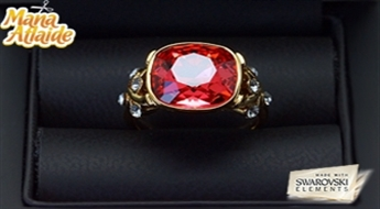 """Patīk izsmalcināts dizains rotas lietās? Apzeltīts gredzens """"Zelta Granāts"""" ar rozā Swarovski Elements kristāliem par iepazīšanās cenu!"""