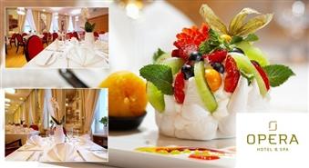 """Cappuccino un """"Pavlovas deserts""""  OPERA HOTEL & SPA restorānā tikai par Ls 2.84! Izbaudi gaisīgo desertu un aizmirsti ikdienas rūpes!"""