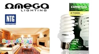 80% enerģijas un naudas ekonomijas! Omega 18W E27 spuldze ar 73% atlaidi!