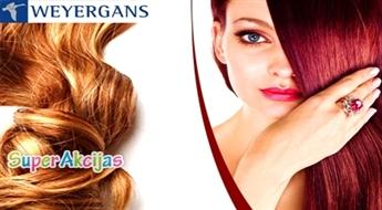 """Matu krāsošana vai matu krāsošana šķipsnās + keratīna maska + matu griezums un veidošana salonā """"Weyergans""""!"""