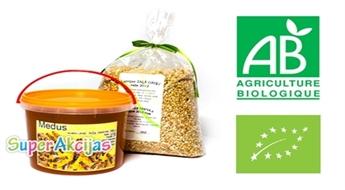 Ēdīsim veselīgi! Latvijā audzētu BIO produktu komplekts: medus un zaļie griķi!