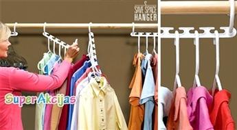 """Kārtībai skapī un vietas ekonomijai! Apģērbu pakaramo turētāji """"Multi Hanger"""" (8 gab.)!"""