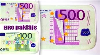 Stilīgs paklājiņš vannas istabā ar 500 vai 100 EUR naudas zīmes attēlu!