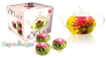"""Ekskluzīva zaļā """"Ziedošā tēja"""" no Ķīnas ar brīnumainu garšu ar 50% atlaidi! Komplektā - 3 gab.!"""