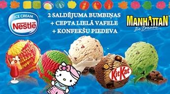 Atvasaras garša: divas jebkuru NESTLE saldējumu bumbiņas ceptajā lielajā vafelē + konfekšu piedeva – 48%