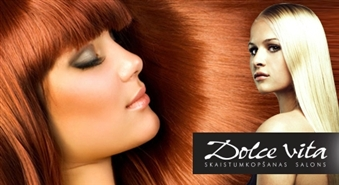 DOLCE VITA: matu griezums + krāsošana +  keratīna maska + relaksējoša galvas masāža + veidošana – 52%