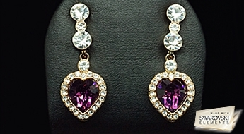 """Auskari """"Purpura Sirsniņas"""" ar ļoti romantisku dizainu un skaistu Swarovski Elements™ kristālu inkrustāciju."""