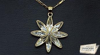"""Izsmalcināts apzeltīts kulons """"Astra"""" ar caurspīdīgiem Swarovski Elements™ kristāliem, ar atlaidi 50%!"""