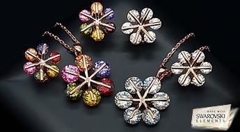 """Apzeltītās bižutērijas komplekts """"Sniegpārsliņa"""" ar origināliem Austrijas  Swarovski Elements™ kristāliem."""