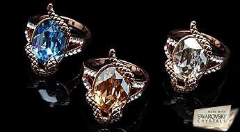 """Ekskluzīvs dizains! Apzeltīts gredzens """"Čūska - Kārdinātāja"""" ar Swarovski™ kristālu, ierāmējumā no Austrijas fianītiem."""
