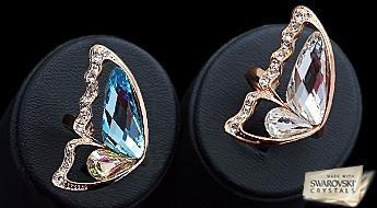 Ļoti skaists gredzens ar romantisku dizainu tauriņa spārna formā no Swarovski™ kristāliem.