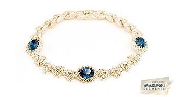"""Eleganta rokassprādze """"Austrumu Noslēpums"""" ar klasisku dizainu un Swarovski Elements™ kristāliem dziļi zilā krāsā."""