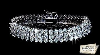 """Žilbinoša skaistuma rokassprādze """"Gerda"""", izpildīts klasiskā stilā un rotāts ar lielu daudzumu caurspīdīgu Swarovski Elements™ kristālu."""