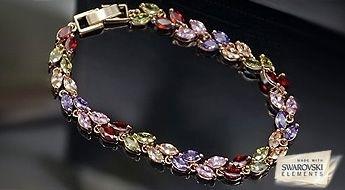 """Skaista rokassprādze """"Selēna"""" ar zelta pārklājumu un daudzkrāsainiem Swarovski Elements™ kristāliem."""