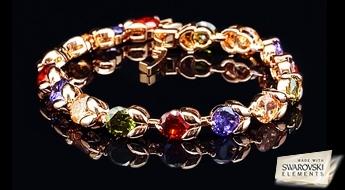 """Koša apzeltīta rokassprādze """"Skarabejs"""" ar daudzkrāsainiem Swarovski Elements™ kristāliem skaistā ierāmējumā."""