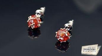 """Mazs skaistums! Miniatūrie auskari """"Lučija"""" ar sarkaniem Swarovski Elements™ kristāliem."""