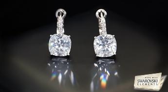 """Mazs skaistums! Klasiska dizaina auskaru pāris """"Žilbinošs Mirdzums"""" ar caurspīdīgiem Austrijas Swarovski Elements™ kristāliem."""