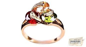 """Mītisks apzeltīts  gredzens """"Agnes"""" ar daudzkrāsainiem Swarovski Elements™ kristāliem."""