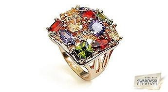"""Uzdāviniet sev gabaliņu laba garstāvokļa! Karaliski smuks gredzens """"Greznība"""", kas rotāts ar daudzkrāsainiem Swarovski Elements™ kristāliem."""