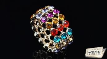 """Apzeltīts gredzens """"Konfetes"""", izpildīts no liela daudzuma krāsainu Swarovski Elements™ kristālu."""