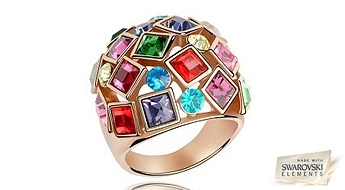 """Košs un neparasts gredzens """"Krāsainā Mozaīka"""" ar daudzkrāsainiem Swarovski Elements™ kristāliem!"""