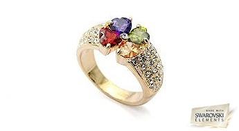 """Lielisks gredzens """"Varavīksnes Zieds"""" ar zelta pārklājumu un Swarovski Elements™ kristāliem."""