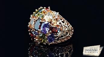 """Spilgts un romantisks gredzens """"Vasaras Diena"""" ar Swarovski Elements™ kristāliem, par iepazīšanās cenu!"""