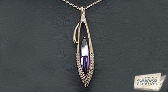 """Ideāls aksesuārs - kulons """"Lija"""" ar koši - violētu Swarovski Elements™ kristālu, par iepazīšanās cenu!"""