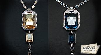 """Stilīga apzeltīta kaklarota """"Nova"""" ar Swarovski Elements kristāliem un dizainiera ķēdīti."""