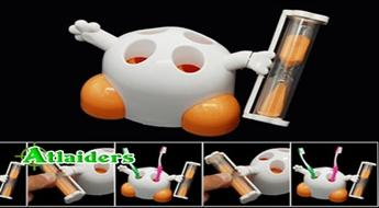 Jūs pārāk ātri tīrāt zobus? Mums ir risinājums! Zobu birstes turētājs ar smilšu pulksteņiem – ar 50% atlaidi!