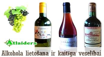 Jebkurai gaumei – baltvīns, sarkanvīns vai rozā vīns! Nepalaidiet garām šo iespēju un sagatavojieties aukstiem rudens vakariem! Cenas, sākot tikai ar 1,65 Ls!