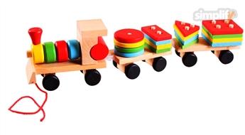 Koka vilcieniņš, ar noņemamām figūrām - klučiem
