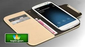 Moderns maciņš no 100% lakādas Samsung Galaxy S3 (i9300) viedtālrunim ar ērtiem nodalījumiem plastikāta kartēm un naudai + bezmaksas Stylus dāvanā!