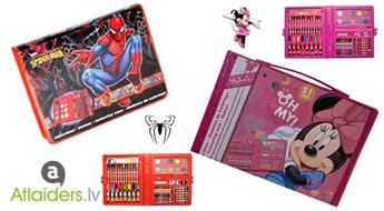 IZPĀRDOŠANA!!! Lieliska dāvana bērnam! Ērts un kompakts Spiderman vai Minnie zīmēšanas piederumu komplekts tikai par 5.99 EUR!