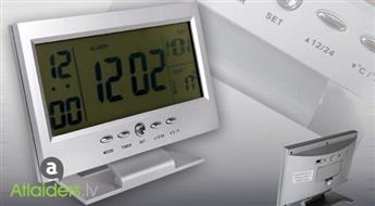 Modinātājs – pulkstenis ar kalendāru, termometru un balss vadību – tagad ar 55% atlaidi!