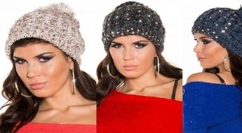 Aktuālas sieviešu ziemas cepures ar mirdzošiem akmentiņiem -60%