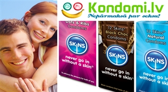 Vilinošs piedāvājums: SKINS 30 prezervatīvu MIX komplekts no KONDOMI.LV ar 50% atlaidi