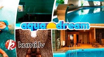 """""""Aquadream"""" vienreizējo apmeklējumu vai abonementu: liels baseins, sāls sauna, pirtis un džakuzi (+35°) + infrasarkanā sauna"""