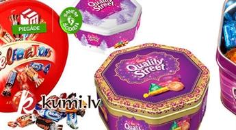 Neticami garšīgas šokolādes konfektes Celebration (750 g) vai Quality Street no Nestle (1,315 kg)